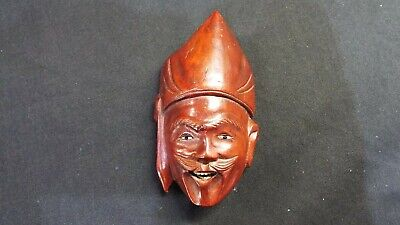 Small Hand Carved Oriental Head with Bovine Teeth