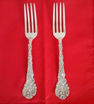 """2 Sterling Silver Luncheon-Dinner Forks GORHAM Versailles 6 ¾ """" Long No Mono"""