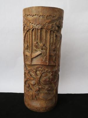 Antique 19th c Chinese Bamboo Brush Pot - Relief & Undercut Detail