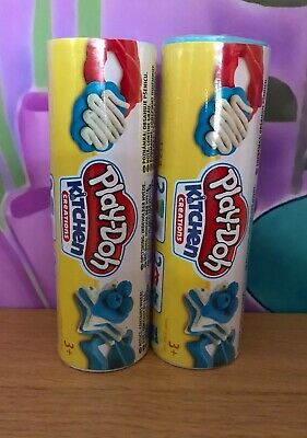 Brand New Set Of 2 Tubes Of Playdoh Kitchen Creations Cookies Blue/White
