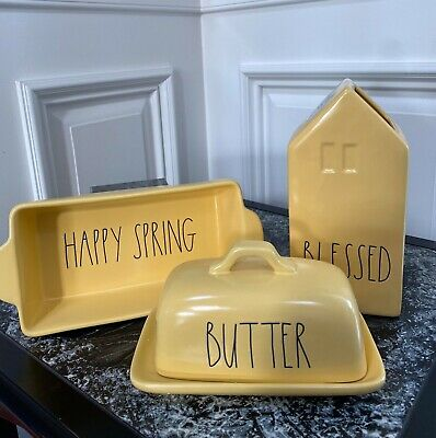 3 PC RAE DUNN, Loaf Dish +  Butter Dish + Flower Vase Spring, Yellow