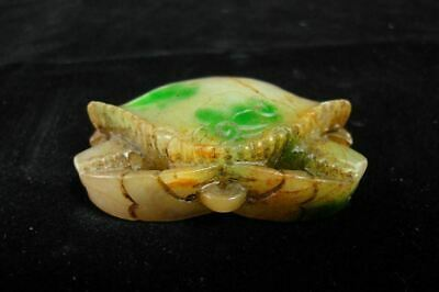 Old Chinese Hand Carving Vivid Crab Green and White Jadeite Emerald Pendant