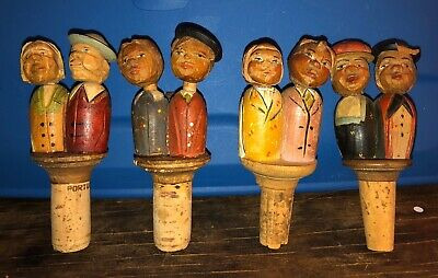 Four Antique Hand Carved Wooden Bottle Stoppers Kissing Couples