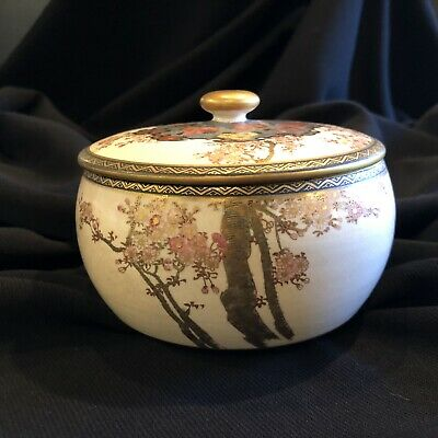 Vintage Japanese Satsuma Covered Dish Hand Painted
