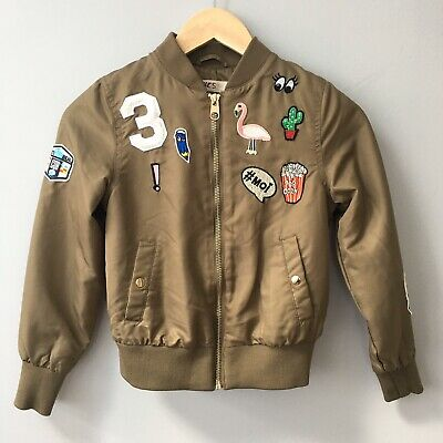 H&M Girls Bomber Jacket Khaki Green Patched Military Spring Summer 10-11 Years