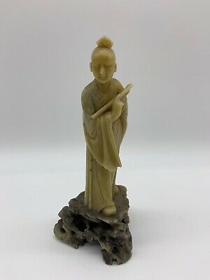 Vintage Antique Chinese Oriental Hand Carved Soap Stone Figure Woman Statue