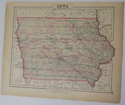 Orig. 1855 Colton's Iowa Hand-Colored Map,Counties,Rivers,Railroads,Towns,Roads