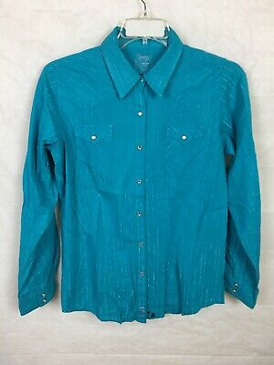 Cowgirl Tuff Western Shirt Womens L//S Tee Aztec Turquoise 100280