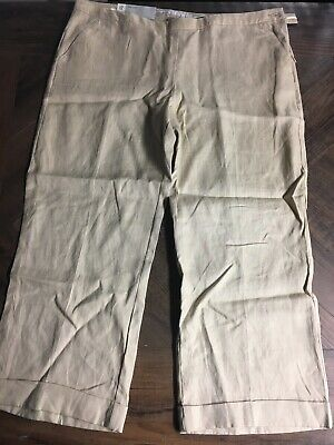 NEW Old Navy Womens Size 12 Beige Tan Flat Front Low Rise Wide Cuffed Pants
