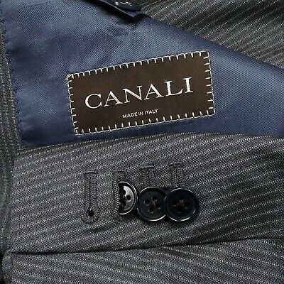 Canali Wool Silk Blue Stripe Sharkskin Flat Front Two Button 2Vent Mens Suit 44R