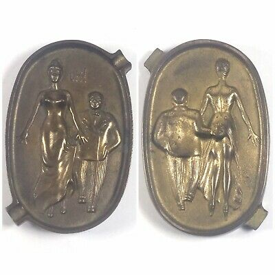 Vintage Cast Iron Naughty OH! Ashtray Brass Finish Risque Erotic 2 Two Sided EUC