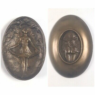 Brass Art Nouveau Naughty Lady Lifting Skirt in Garden Dish Card Holder Ashtray
