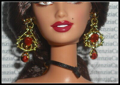 JEWELRY BARBIE DOLL I LOVE LUCY PARIS FAUX GOLD /& BLUE DANGLE EARRINGS ACCESSORY