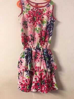 CHILDRENS PLACE GIRLS SIZE 14 XL PINK  PURPLE FLORAL EASTER  Ruffle Tier DRESS