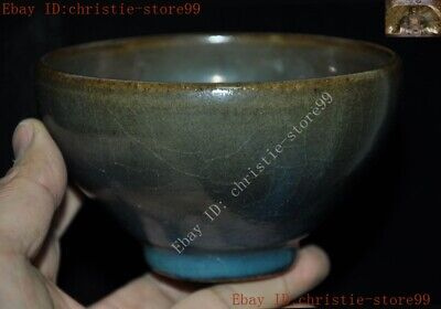 Old Chinese Dynasty palace official kiln Jun porcelain glaze Tea cup Bowl statue