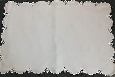 Vintage rectangular linen tray cloth/table topper with scalloped crochet edge.