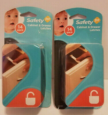 Lot Of 2 New Safety 1st Safety Cabinet & Drawer Latches 14 Packs 28 Total. 48390