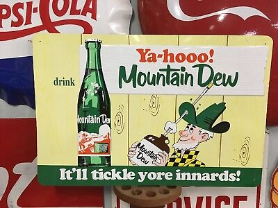 Rare Mt MOUNTAIN DEW HILLBILLY Soda Pop Gas Station Sign