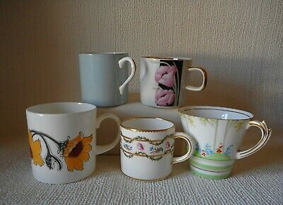 Five Odd Coffee Cups - Worcester  - Susie Cooper -  T Goode -  Good Condition
