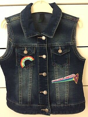 Benetton Childs Girls Gilet Denim Age 6-7