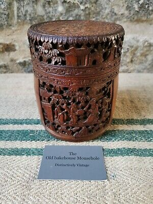 A fine Chinese Carved Bamboo Lidded Brush pot