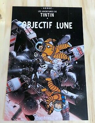 CARTES POSTALE TINTIN HOMMAGE A HERGE  PARODIE objectif lune