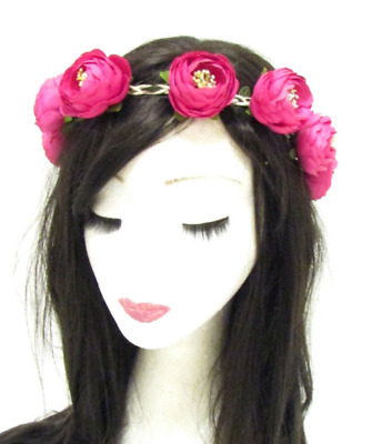 Hot Pink Cerise Rose Bud Flower Headband Hair Crown Festival Boho Garland c6