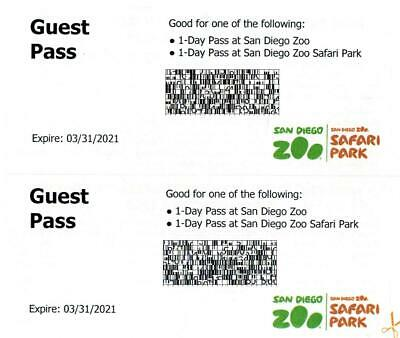 2 San Diego Zoo or Safari Park 1 Day Passes (Valid till March 31, 2021) a