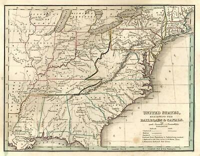United States Early Railroads and Canals Transport 1835 Bradford early U.S. map