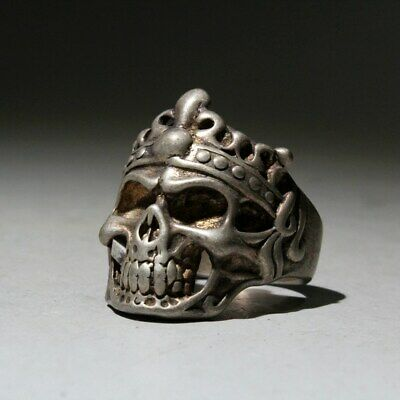 Collectable Old Miao Silver Hand-Carved Skeletons Head Exorcism Auspicious Ring