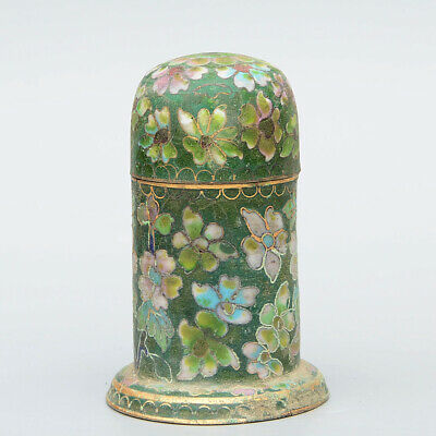 Collectable China Handwork Cloisonne Carve Beautiful Flowers Luck Toothpick Box
