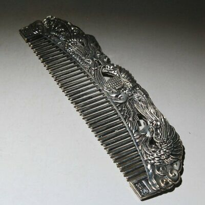 Collectable Chinese Miao Silver Hand-Carved Myth Dragon & Phoenix Delicate Comb