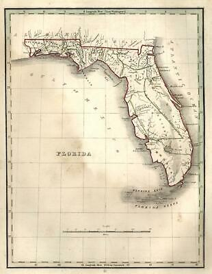 Florida State map Gulf of Mexico Florida Keys 1835 Bradford early U.S. map