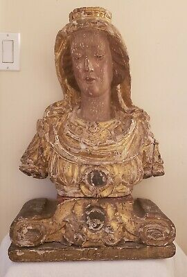 17th Century Continental Carved Wood Gesso Polychrome Madonna Sculpture ca. 1645