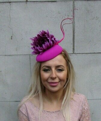 Hot Fuchsia Pink Plum Purple Feather Flower Pillbox Hat Fascinator Wedding 0085
