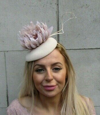 Nude Light Beige Feather Flower Pillbox Hat Fascinator Wedding Races Ladies 0086