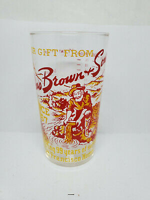 Vintage advertising measuring glass - Chas Brown & Sons 99 years (1140)