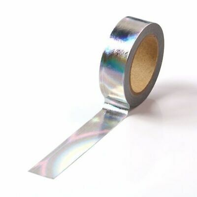 Washi Tape Foil Silver Holographic Metallic Gilded 15mm x 10m