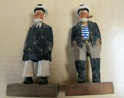 "Pr Carved 4"" Miniature Wooden Figures Sea Captains MORIN HEIGHTS Quebec ca1970"
