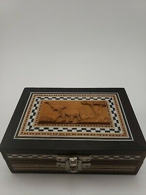 Vintage Wood carved elephant Box With Marble Inlay made in india