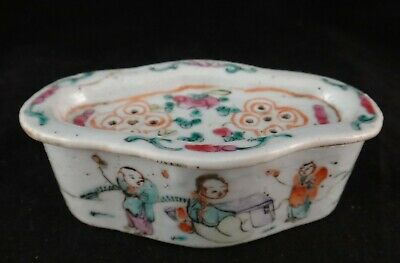 """Antique Chinese Porcelain Cricket Cage. 4 1/8"""" x 2 3/8"""". Qing Dyn, 19th cent."""