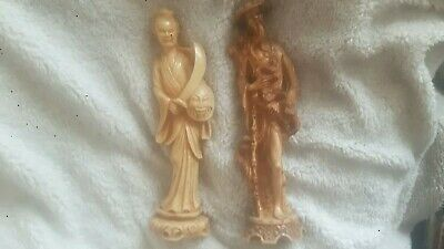 """Chinese (x2 Pair) Figurine of an Old CHINESE Man & Women ORNAMENTS 14"""" Tall☆☆☆☆☆"""
