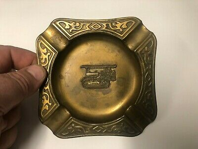RARE CATERPILLER model 60 brass ashtray very fine detail , nice old piece