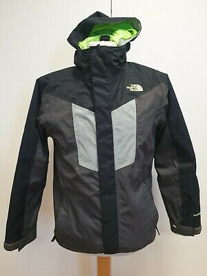 H633 Boys The North Face Black Grey Hooded Removable Fleece Jacket 14-16 Years