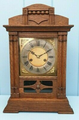 Clock Mantel Victorian Antique Oak Made In Scotland Fully Working With Key