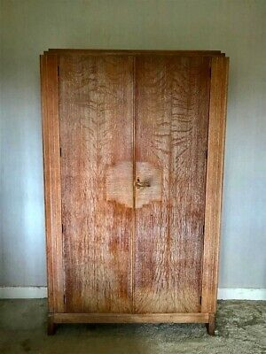 Retro Art Deco Style Antique Oak Wardrobe