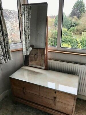 Antique Vintage Art Deco Style Dressing Table With Tall Mirror