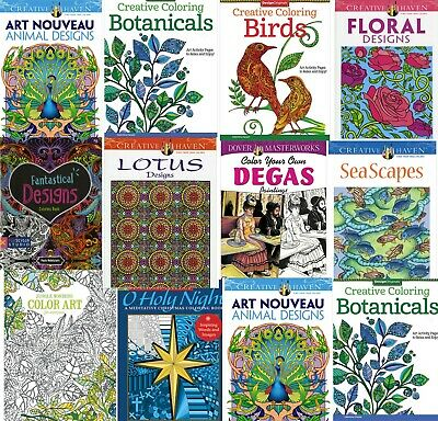 Colour Therapy Adult Colouring Books Anti Stress Art Relief, FREEPOST, MULTIBUY