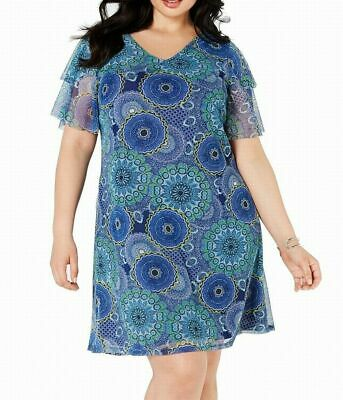 NEW NY Collection Women's Plus Blue Multi Printed Ruffled-Sleeve Dress Size 2X