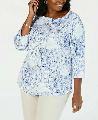 NEW Charter Club Womens Plus 3/4 Sleeve Printed Boat-Neck Top Blue/White Size 0X